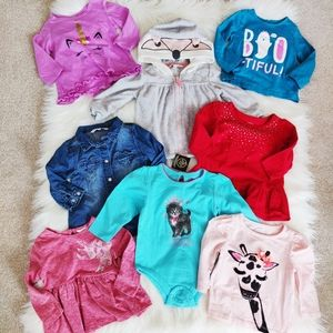 Bundle of eight 6-12month girls sweaters and tops